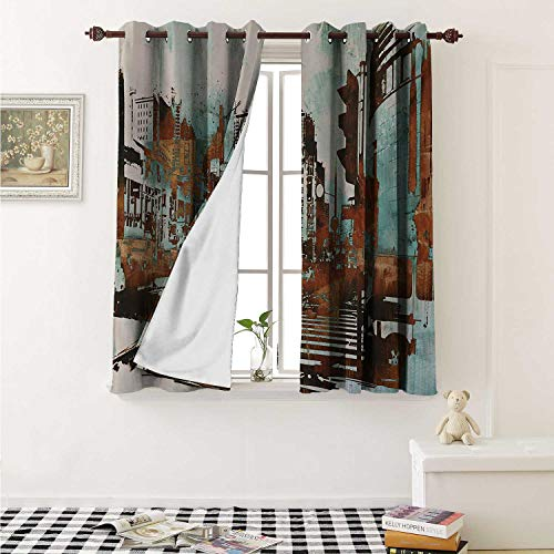 - Grunge Thermal Insulating Blackout Curtain Urban Cityscape Contemporary Abstract Acrylic Paint Style Brush Strokes Curtains Girls Room W55 x L39 Inch Seafoam Brown White
