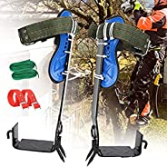Adjustable Tree Climbing Spikes 2 Gear with Harness Belt, 304 Stainless Steel Tree Climbing Tool, Pole Climbin