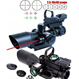 X-Aegis 2.5-10x40 Rifle Scope Integrated Gun Sight Lasers Dual Illuminated Mil-dot, Rail Mount 4 Reticle Red Green Dot Open Reflex Sight