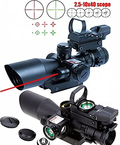 X-Aegis New Style 2.5-10x40 Rifle Scope with Integrated gun sight lasers Dual Illuminated Mil-dot , Rail Mount and 4 Reticle Red and Green Dot Open Reflex (3 8 Scope Mount Adapter)