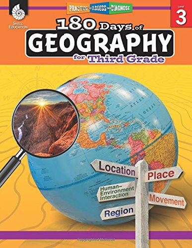 180 Days of Geography for Third Grade - Fun Daily Practice to Build 3rd Grade Geography Skills - Geography Workbook for Kids Ages 7 to 9 (180 Days of Practice) -