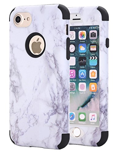 iPhone 7 Case, iPhone 8 Case, KAMII White Marble Stone Pattern Shockproof 2in1 Dual Layer TPU Bumper Hard PC Hybrid Defender Armor Protective Case Cover for Apple iPhone 7 / iPhone 8 Black