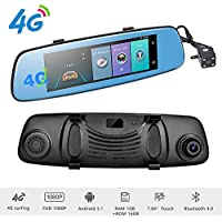 Podofo 4G Dash Cam Backup Camera 7.84 Android 5.1 Touch Screen ADAS Remote Car DVR Rear View Mirror Monitor 1080P Dual Lens Wifi Dashcam GPS Navigation Vehicle Video Recorder