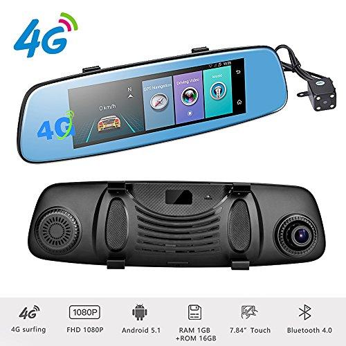 Podofo 4G Car DVR Backup Camera 7.84' Android 5.1 Touch Screen ADAS Remote...