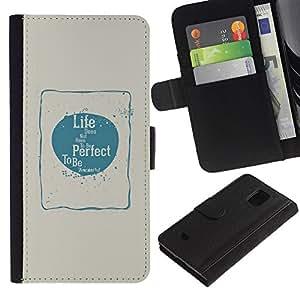 KingStore / Leather Etui en cuir / Samsung Galaxy S5 Mini, SM-G800 / Perfecto Amor Felicidad Vida Azul Beige Póster