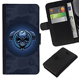 Planetar® Colorful Pattern Flip Wallet Leather Holster Protective Skin Case Cover For Sony Xperia M2 / M2 dual ( Blue Skulls )