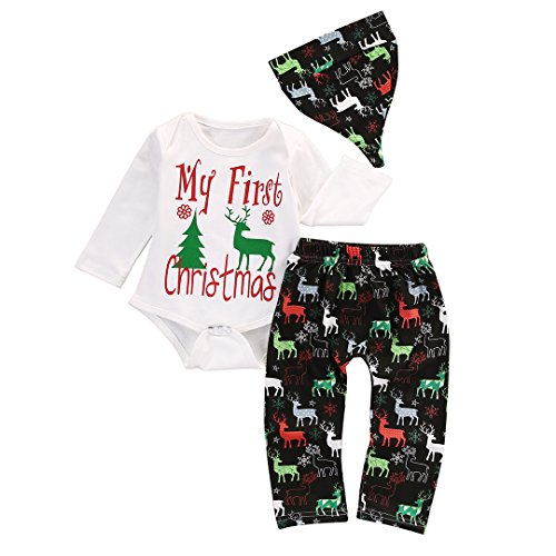 [Baby My First Christmas Bodysuit and Deer Print Pants Outfit with Hat (90(9-12M), White+black)] (Christmas Outfit)