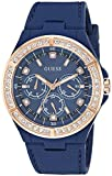 GUESS Women's Stainless Steel Silicone Crystal Accented Watch, Color: Blue/Rose Gold-Tone (Model: U1093L2)