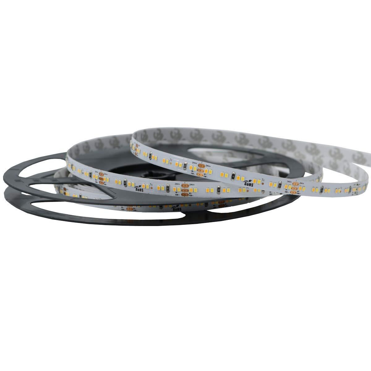 Iluminize LED-Streifen duo-weiß  sehr hochwertiger LED-Streifen duo-weiß (2700K-6000K) mit 240 LEDs pro Meter, Ra 90, hoch selektiert, 24V, 19,2W pro Meter, 5 m auf Rolle (IP33)