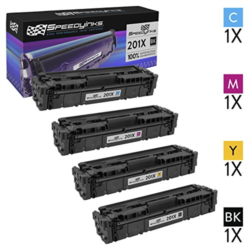Speedy Inks Compatible Toner Cartridge Replacement for HP 201X High-Yield (1 Black, 1 Cyan, 1 Magenta, 1 Yellow, 4-Pack) (Hp Color Laserjet Pro Mfp M277dw Toner Price)