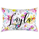 Carousel Designs Personalized Custom Watercolor Floral Pillow Case Layla Idea - Organic 100% Cotton Pillow Case - Made in the USA