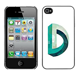 Planetar® ( D Mobius Impossible Teal White ) iPhone 4 / 4S Fundas Cover Cubre Hard Case Cover