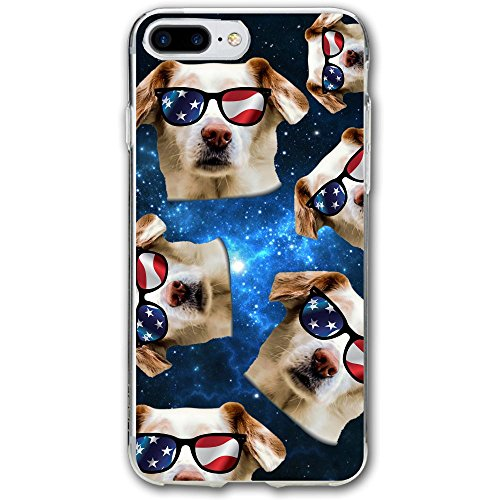 Dog With USA Flag Sunglasses Shockproof 360° Silicone Protective Clear Case Cover For IPhone 7 - Government Sunglasses