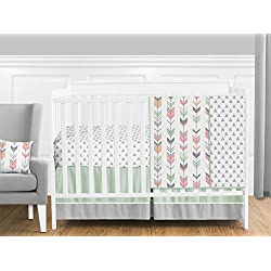 Grey, Coral and Mint Woodland Arrow 11 Piece Girls Crib Bed Bedding Set Without Bumper