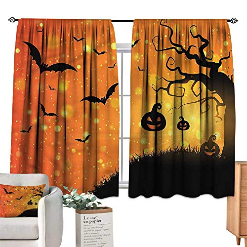 WinfreyDecor Halloween Simple Curtain Fantasy Evil Night Icons for Living, Dining, Bedroom (Pair) 55
