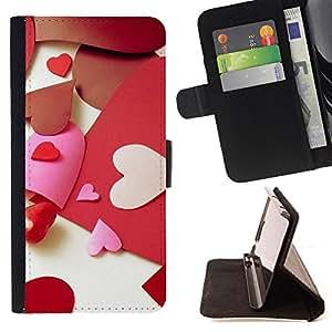 BullDog Case - FOR/Samsung Galaxy Note 4 IV / - / Love Paper Heart /- Monedero de cuero de la PU Llevar cubierta de la caja con el ID Credit Card Slots Flip funda de cuer