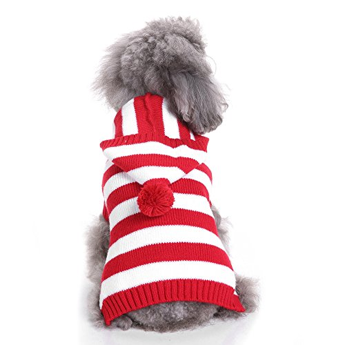 - S-Lifeeling Red and White Striped Dog Sweater Holiday Halloween Christmas Pet Clothes Soft Comfortable Dog Clothes