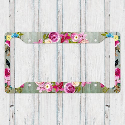 Aluminum License Plate Frame with Boho Flowers and Green Weathered Barn Wood (Reclaimed License Plate)