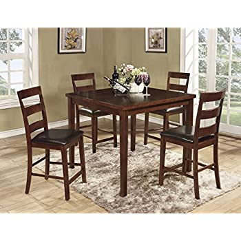 Roundhill Furniture Amery 5 Piece Counter Height Dining Set, Dark Cherry