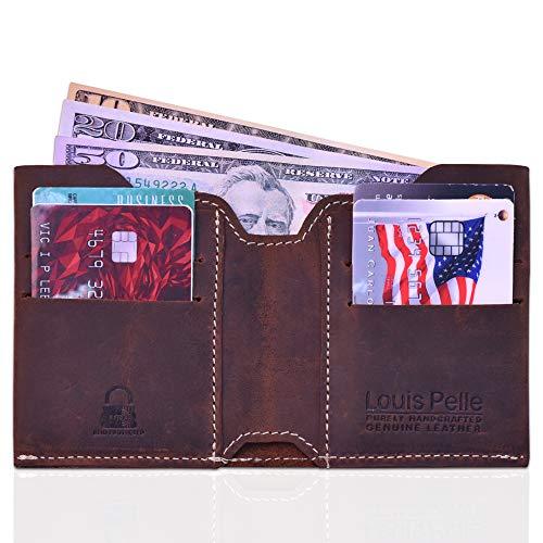 Louis Pelle Leather Men Minimalist Wallet RFID Blocking Bifold Slim Wallet