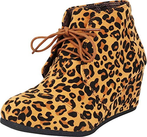 Wedge Animal Print (Cambridge Select Women's Classic Lace-Up Chunky Wedge Ankle Bootie,9 B(M) US,Leopard IMSU)