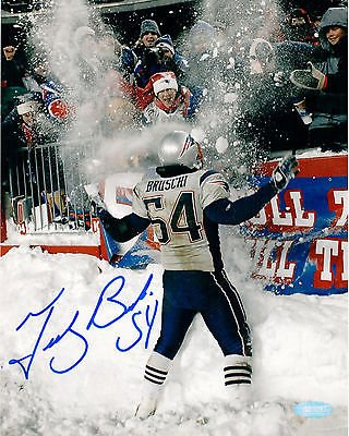Autographed Snow - Tedy Bruschi New England Patriots Signed Autographed Snow Play 8x10 Photo