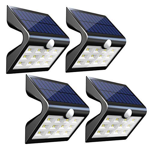 InnoGear 2nd Version 14 LED Solar Lights with Rear Projection Outdoor Motion Sensor Activated Security Night Light Auto On/Off Wall Lamp for Path Patio Yard Deck Porch Garden Fence, Pack of 4 (Fence Lamp)