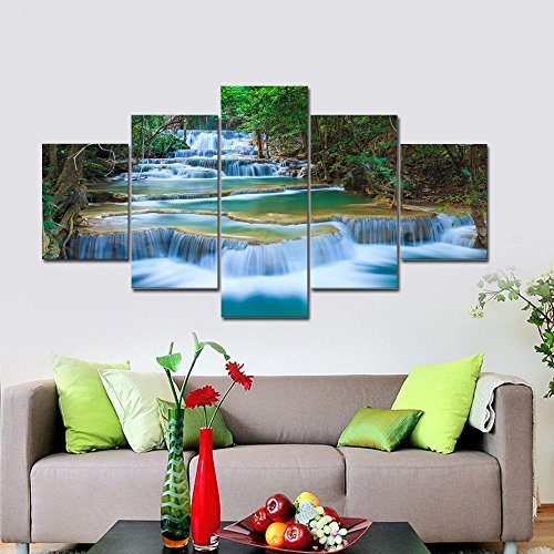 [LARGE] Premium Quality Canvas Printed Wall Art Poster 5 Pieces / 5 Pannel Wall Decor Peaceful Waterfall Painting, Home Decor Pictures - With Wooden Frame (Frames Fall)