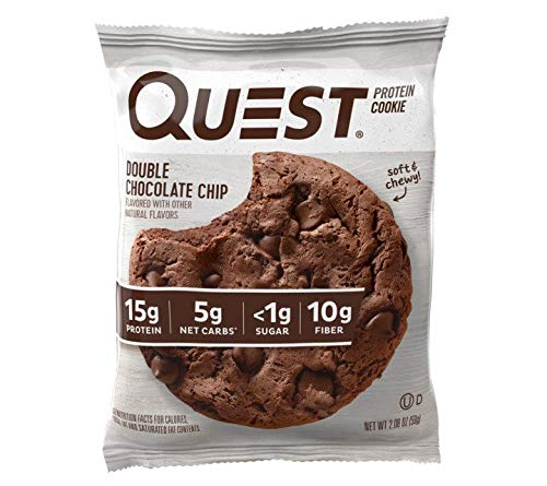 Quest Nutrition Double Chocolate Chip Protein Cookie,  High Protein, Low Carb, Gluten Free, Soy Free, 12 Count ()