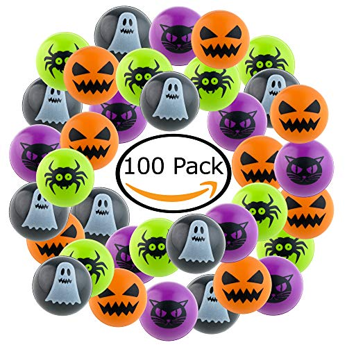 100 Piece Halloween Bouncing Balls Set for Halloween Parties, Bag Fillers and Treat Bags, Unique Halloween Party -
