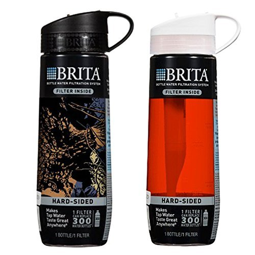 Brita Hard Sided Wet Bottle with Filter, BPA Free (1 Black & 1 Red)