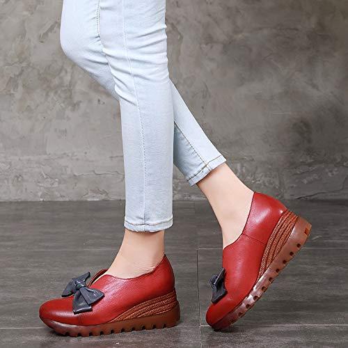 Bowknot On Leather Dimensione Qiusa Jane Tallone Mary Rosso 36 colore Con Marrone Slip Zeppa Eu Shoes Donna 88HUn