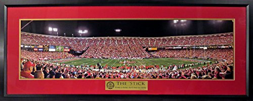 (San Francisco 49ers Candlestick at Night Panoramic (Deluxe w/Dwight Clark Quote Plate) Framed)