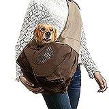 Shoulder Carry Handbag for Pets - VSOAIR Portable Hands-free Pet Foldable Travel Carrier Bag, Sling Shoulder Bag for Small Dog Cat Rabbit Guinea Pig (Brown)