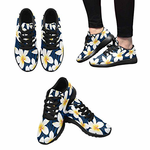 InterestPrint Womens Trail Running Shoes Jogging Lightweight Sports Walking Athletic Sneakers Tropical White Frangipani Plumeria Flower Pattern Multi 1 e7Ar4Sx