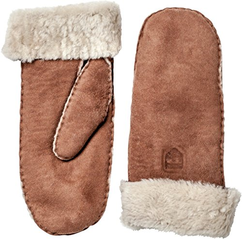 (Hestra Leather Gloves for Women: Sheepskin Thin Winter Mitten with Fur Cuff, Brown, 8)