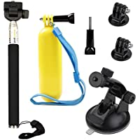 VVHOOY Float Handle Grip with Adjustable Selfie Stick Monopod and Car Suction Mount Holder for AKASO Brave 4/V50 Native 4K/Crosstour/BUIEJDOG Waterproof Action Camera Mounting Bundle Accessories