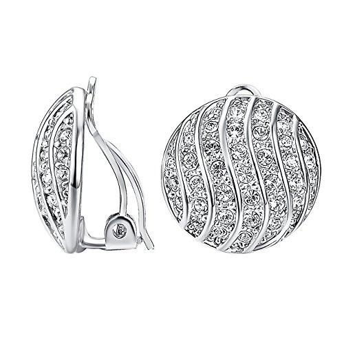 VOGEM Rhinestone Ball Earrings For Womens 18K Gold Plated With Round Cubic Zirconia Silver Clip Earrings Charm Jewelry ()