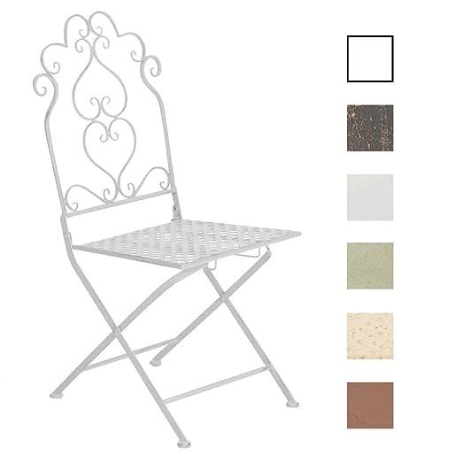 Tavolo Giardino Ferro Bianco.Clp Sedia Pieghevole Anabel In Ferro Sedia Giardino Vintage