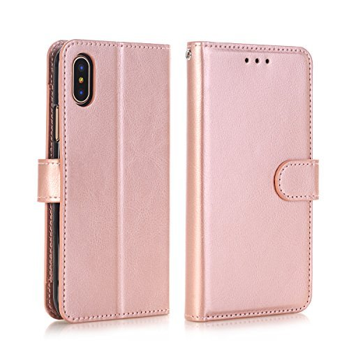 Cases for iPhone X Grils,Phone Case iPhone X Case Wallet Slim iPhone X Apple Case Rose Gold Kickstand Case With Card Holder Strap Magnetic Full Body Impact Proof Covers for Applle iPhone X Leather
