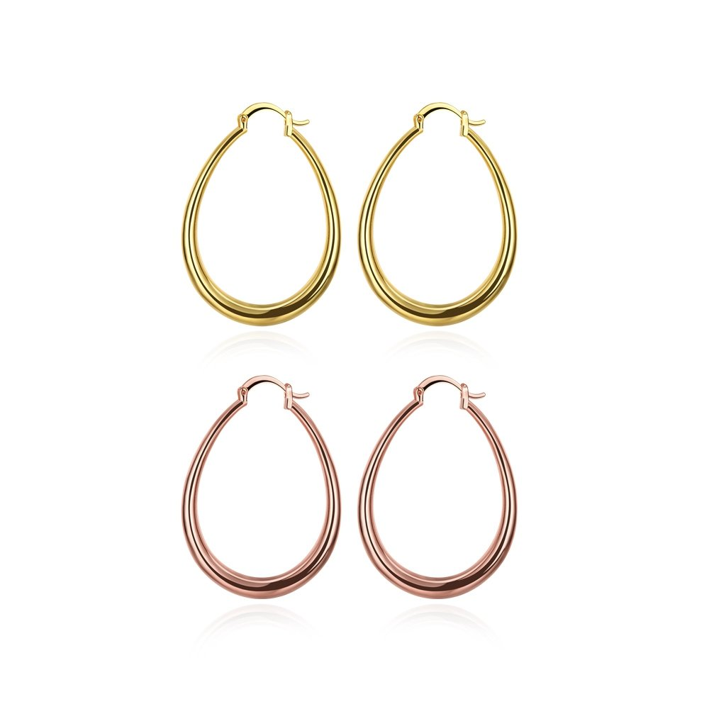 40mm Teardrop Hoop Earrings 14K Gold & Rose Gold Nice Gift For Women Girls (2Pcs)