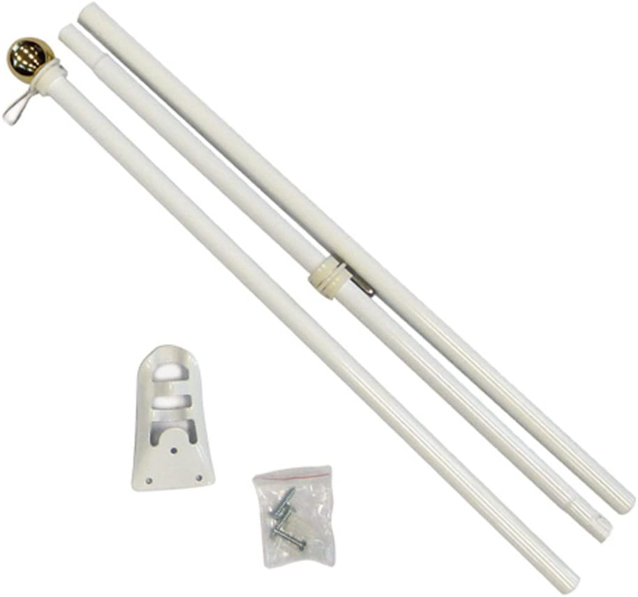 FlagsImp 6 Foot Steel White Pole with (Ball)