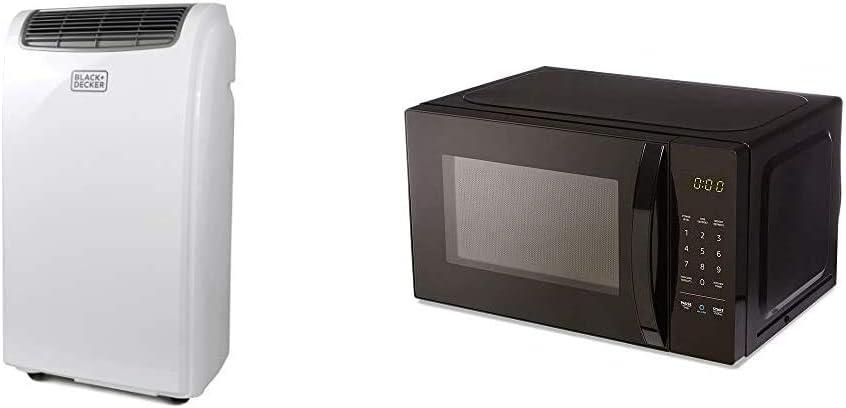 BLACK+DECKER BPACT08WT Portable Air Conditioner, 8,000 BTU, White & AmazonBasics Microwave, Small, 0.7 Cu. Ft, 700W, Works with Alexa