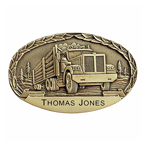 (Logging Truck Personalized Solid Brass Belt Buckle OBM153P Made in USA)