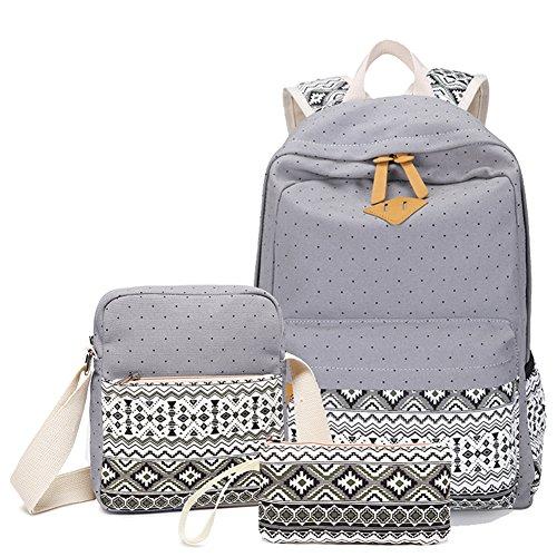 YoungSoul Mochila para la escuela Escolares Bolsa de lona Mochilas tipo casual School Backpack + Bolsa de hombro + Billetera Gris