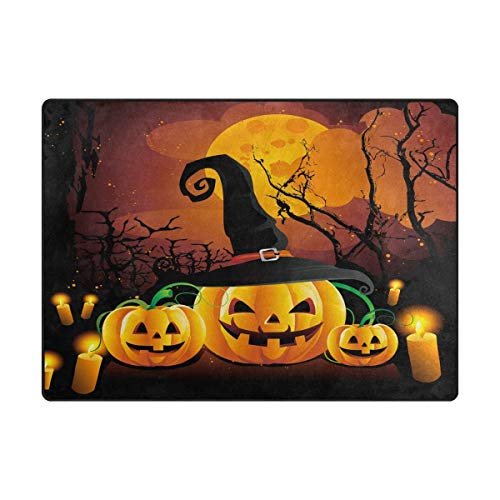 Area Rug Carpet Halloween Night Forest Tree Moon Pumpkin Soft Non-Slip Runner Mat 4'x6', Indoors/Bedroom/Living/Dining/Kitchen Floor Mats,8mm Pile Height,Rectangular
