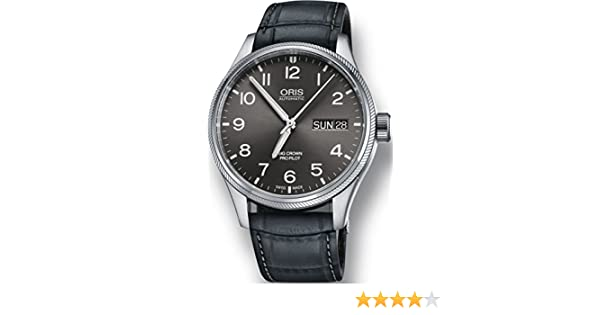 7f123b13d302b Amazon.com  Oris Big Crown ProPilot Day Date Mens Stainless Steel 45mm Grey  Face Oris Watch - Grey Leather Band Swiss Automatic Watch 01 752 7698  4063-07 5 ...