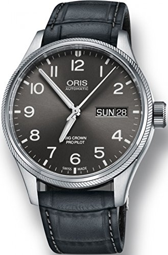 Oris Big Crown ProPilot Day Date Mens Stainless Steel 45mm Grey Face Oris Watch - Grey Leather Band Swiss Automatic Watch 01 752 7698 4063-07 5 22 06FC