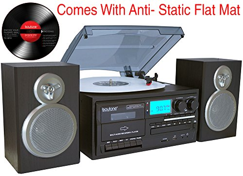 Boytone BT-28SBS, Bluetooth Classic Style Record Player Turntable with AM/FM Radio, Cassette Player, CD Player, 2 Separate Stereo Speakers, Record Vinyl, Radio, Cassette to MP3, SD Slot, USB, AUX by Boytone (Image #1)
