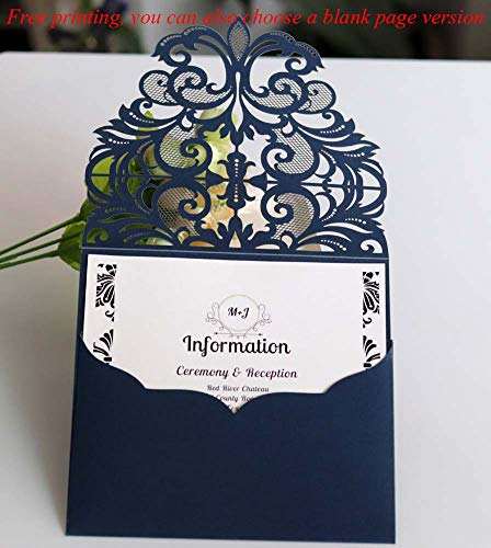 Laser Cut Wedding Invitation Card Custom Personalized Printing and Blank Page Envelope 5.9×5.9In 100Pcs by JXS-Wedding (Image #4)
